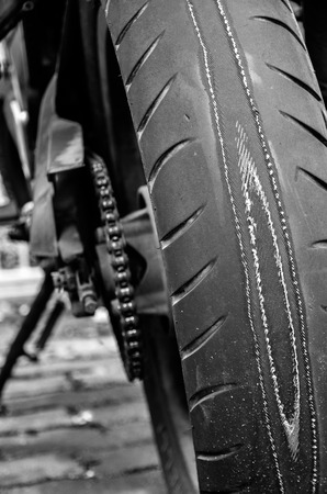 worn: extremely worn out motorcycle tyre