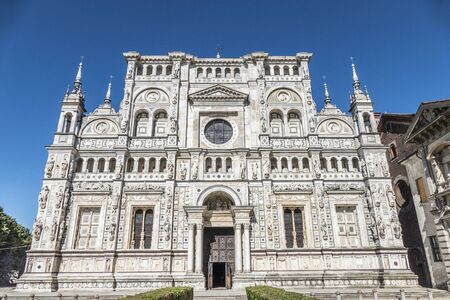 The beautiful facade of the Certosa di Pavia