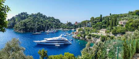 Portofino, Italy - 06/30/2020: aerial view of the bay