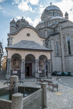 Valle Vigezzo, Italy - 08/22/2020: The beautiful Sanctuary in Re in Piedmont