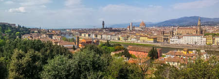 ultra wide panoramic view of Florence with many monuments in background Stock fotó