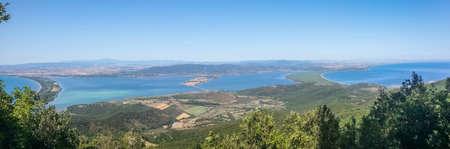 Wide angle view of the lagoon of Orbetello Banco de Imagens