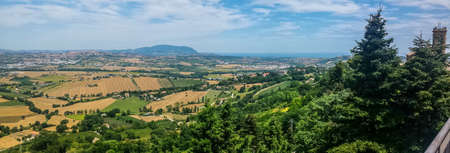 Ultra wide view of the hill of the Marche from Recanati