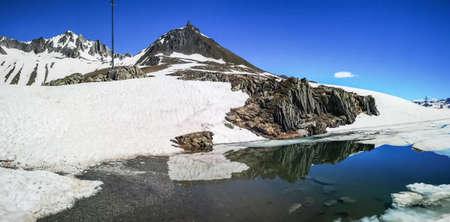 The frozen lake in the Nufenenpass