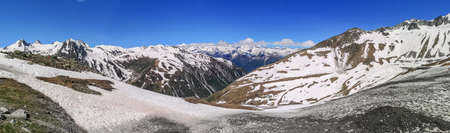 Ultra wide panorama from the Nufenenpass with snowy mountains