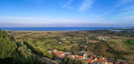 Ultra wide panorama of the coast line of Posada and Siniscola in Sardinia Stock Photo