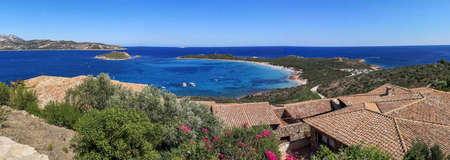 Aerial ultra wide panorama of Capo Coda Cavallo in Sardinia