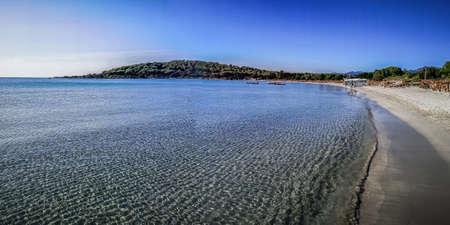 ultra wide panorama of the beautiful beach of Cala Brandinchi in San Teodoro