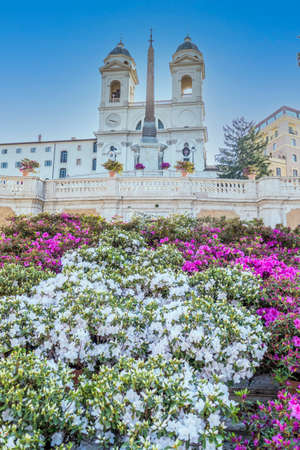 The famous Spanish Steps in Rome with beautiful flowers and no people