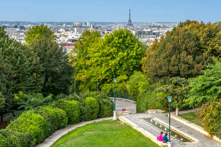 The park of Belleville with the panorama of Paris in the background
