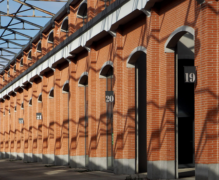 Old brick warehouse with numbering