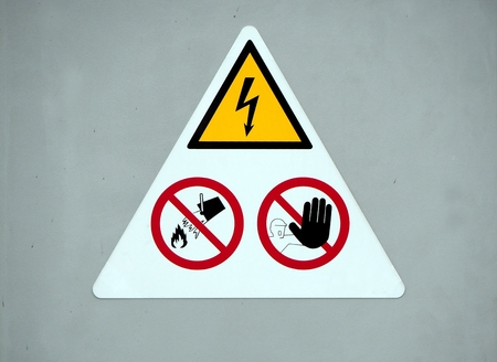 Danger electricity warning sign. Do not touch, do not throw water