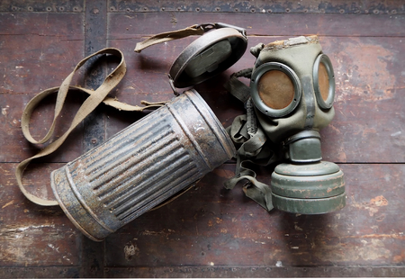 German Army old gas mask with its container, used during the second world war Stock Photo