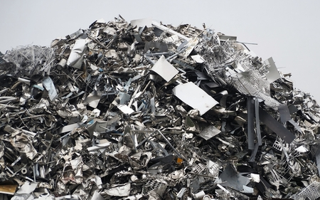 Large stack of aluminum and ferrous materials. Scrap ready for recycling