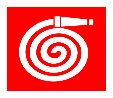 Fire hose reel symbol, international sign
