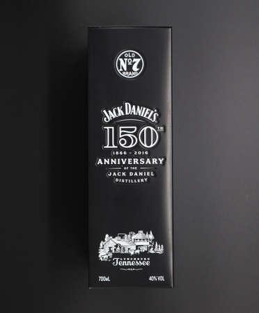 Udine, Italy. October 17,2019. Black metal box for bottle celebrating 150 years of Jack Daniel's whiskey on a white background.