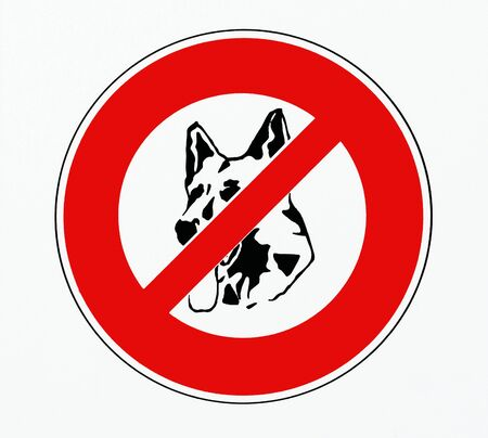 No dogs allowed sign with a symbol of a german shepherd face