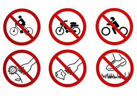 List Of Bans Used In Some Public Parks Don T Ride A Bike Don T Stock Photo Picture And Royalty Free Image Image 144982158