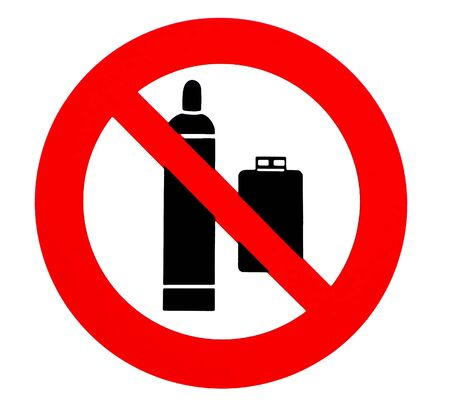 Propane gas cylinders are not allowed. Prohibition and safety sign. Foto de archivo