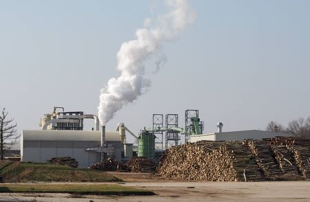 Paper mill with steaming chimney and large stacks of whole tree trunks in the square in front