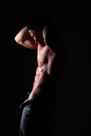 seminude: semi-nude portrait of muscular man