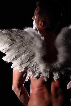 male chest: muscular man with angel wings