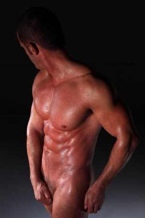 pectoral muscle: muscular nude black man