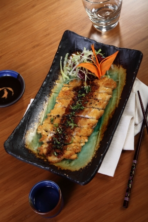 Japanese cuisine breaded fillet of sea bass photo
