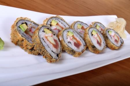 seafruit: sushi on white rectangular plate Stock Photo