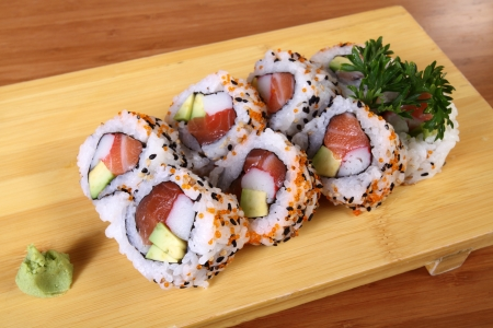 sushi plate with wasabi photo