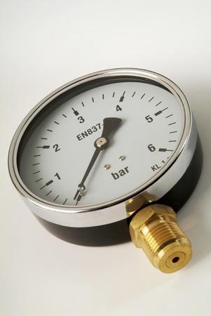 barometer: industrial barometer on white background
