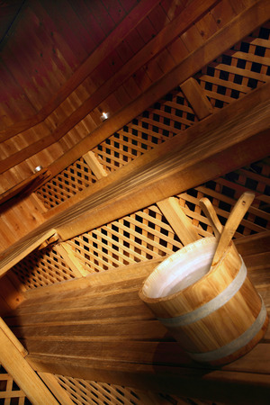 especially: gym - especially for sauna bucket with water Stock Photo