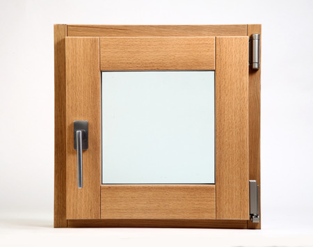 openness: wooden window closed on a white background