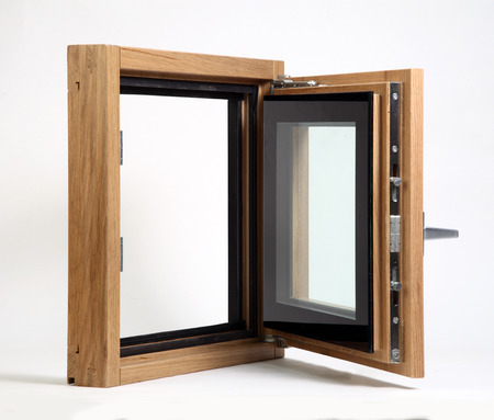 openness: wooden window open on a white background