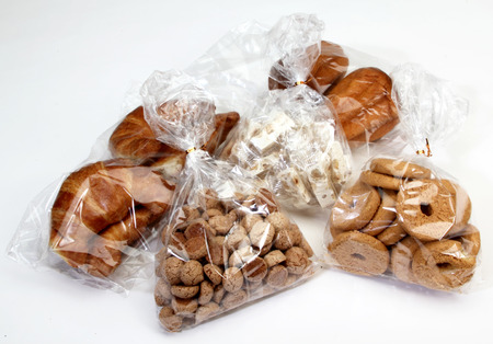 cookies, pastries, and other sweet preserved in cellophane bags for food