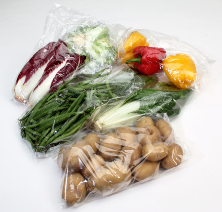 vegetables conserved in cellophane bags for food