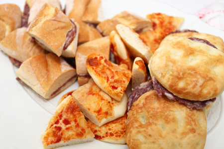 corpses: plate of sandwiches with corpses, buns and pizza