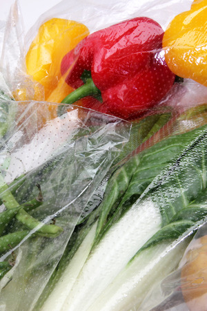 conserved: vegetables conserved in cellophane bags for food