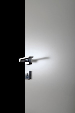 new entry: clear door open, with the handle, on black background