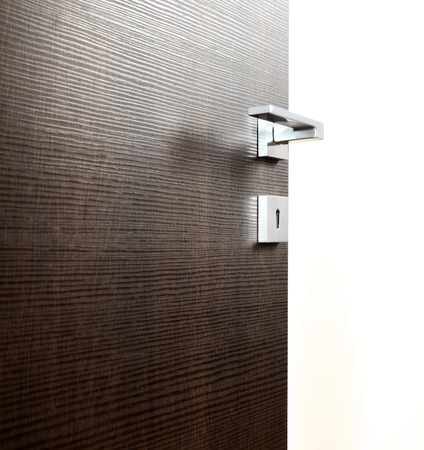 new entry: dark door open, with the handle, on white background