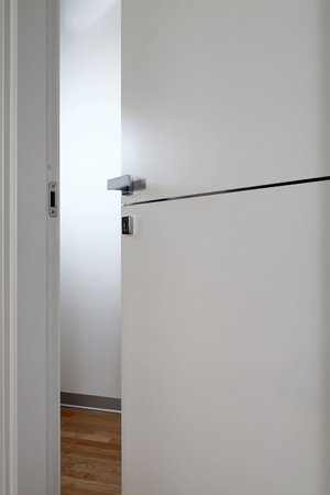 restructuring: clear door open, with the handle, on white background