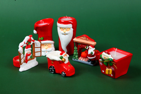 candleholder: candleholder various christmas subjet on a green background