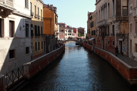 venice, small pedestrian bridge over the canals Stock Photo