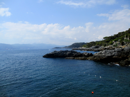 panoramas: view of the sea and the rocky coast of liguria, north italy