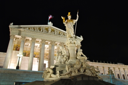 Austrian Parliament by night, Vienna Stock Photo