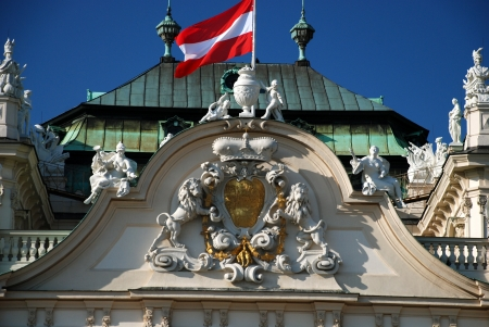 Austrian Flag waving on the Belvedere palace, Vienna Stock Photo