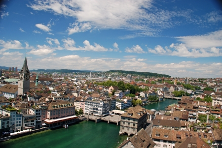 View of Zurich from the Cathedral  Stock Photo
