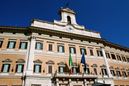 The palace of Montecitorio, Italian Parliament building, Rome
