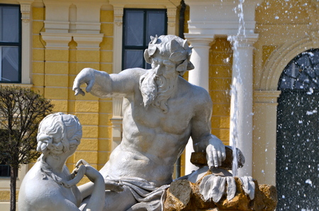 Fountain at Schönbrunn Palace in Vienna, Austria Editorial