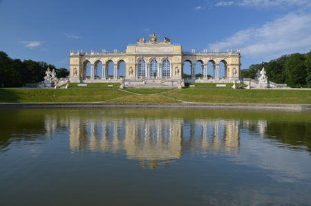 Gloriette at Schonbrunn Palace with gardens in Vienna, Austria. The former imperial summer residence is the most-visited tourist attraction in Vienna.